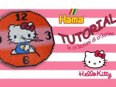 Orologio da Parete HELLO KITTY con Hama beads.Pyssla (Funzionante!) - DIY Wall Clock Tutorial