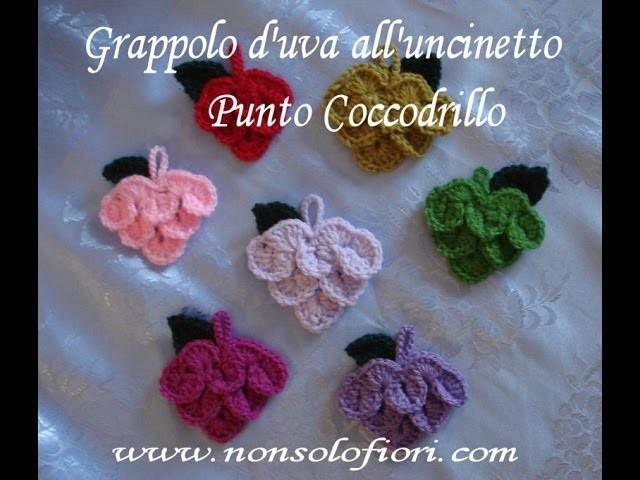 Grappolo uva uncinetto-Crochet bunch grapes-Punto coccodrillo