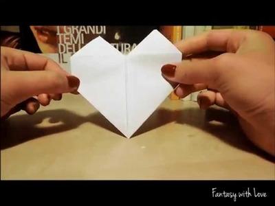 Origami Cuore con un foglio di carta. Tutorial facilissimo ♥ DIY Paper Heart