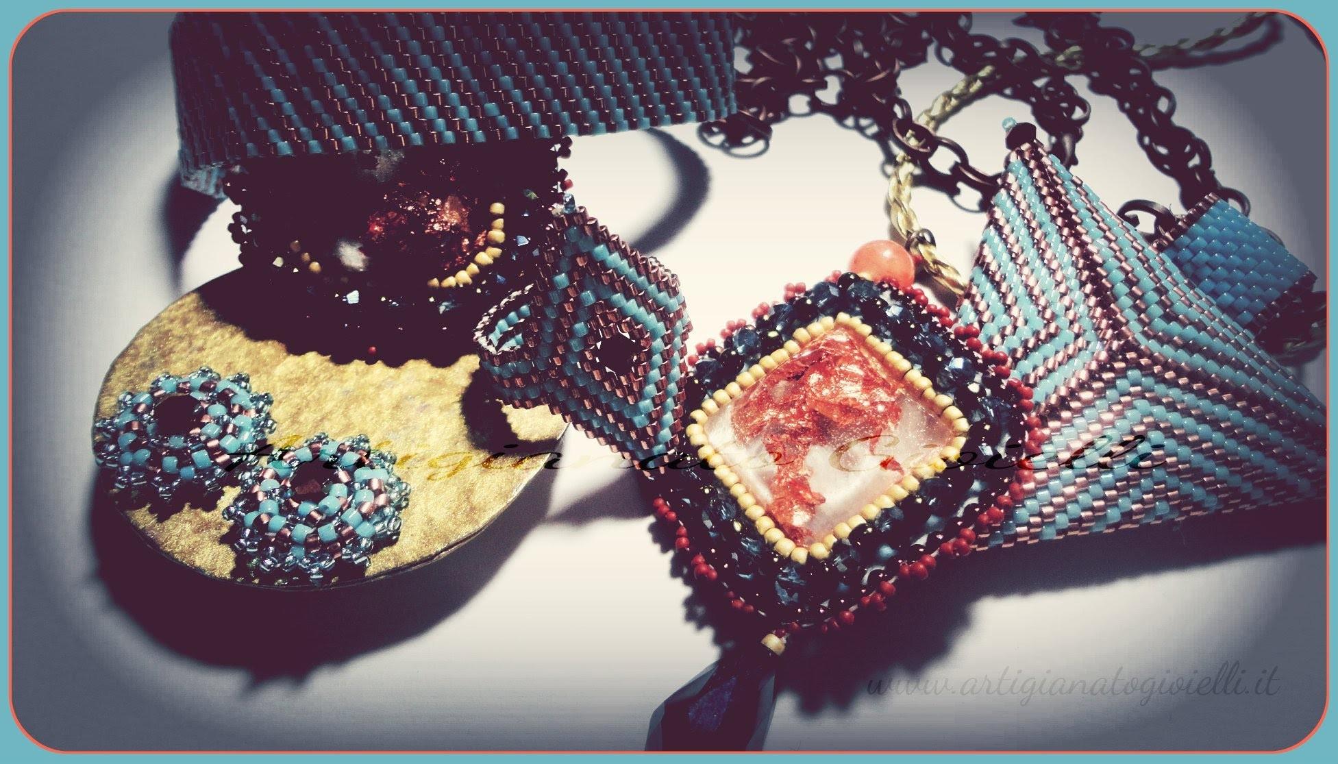 Collane, orecchini, anelli - Embroidery, peyote, brick stitch - (beadwork)