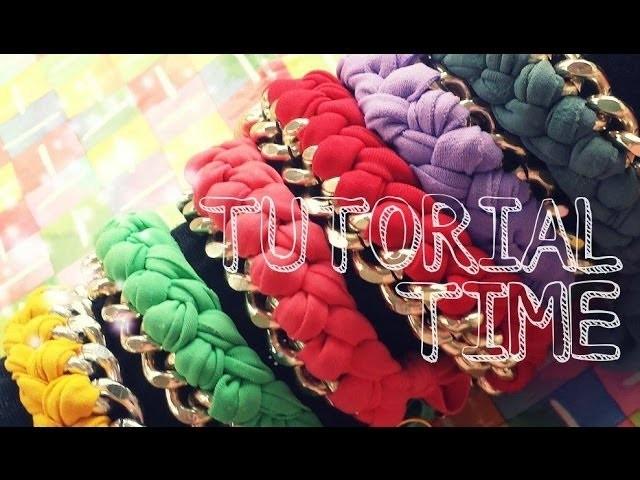 TUTORIAL TIME 1# - Bracelet chain and lycra. Bracciale con catena e fettuccia intrecciata