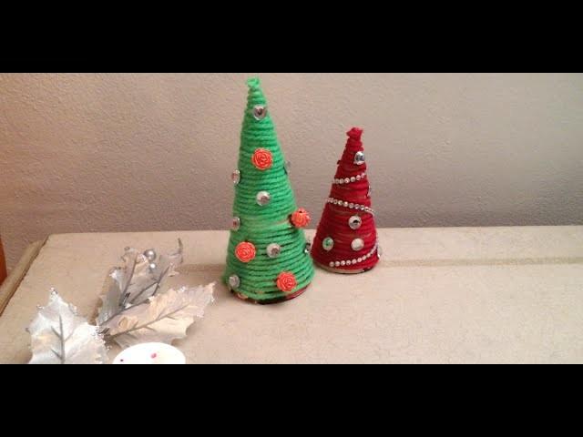 Diy Natalizio - Alberello di Natale con la Lana e Perline (FACILE)