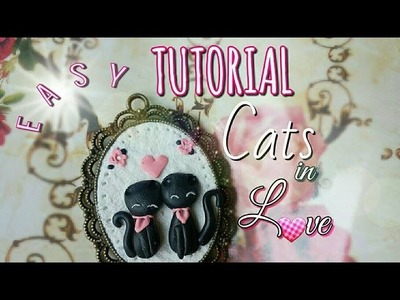 ♥ Cameo Cats in Love easy tutorial polymer clay