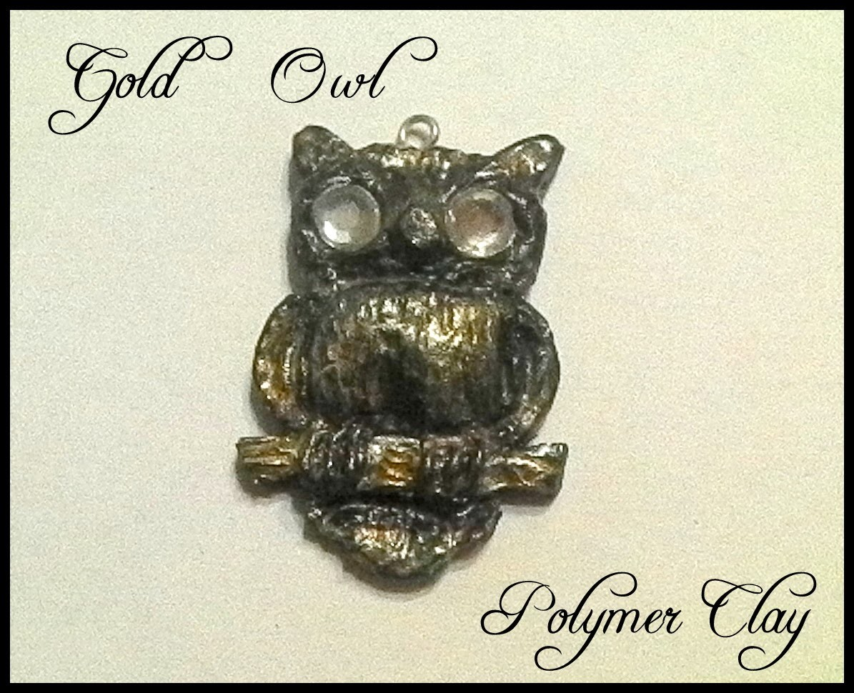 Gold owl - polymer clay.fimo