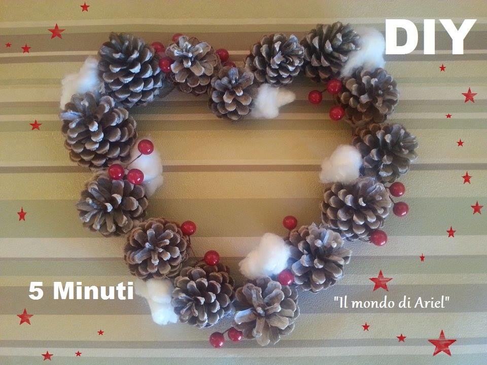 DIY GHIRLANDA NATALIZIA con pigne e fiori di cotone,DIY Christmas wreath