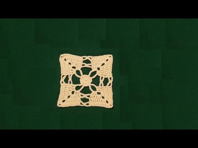 """Piastrella all'uncinetto """"anelli e archetti"""" -   crochet granny square tutorial"""