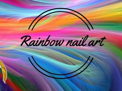 Rainbow nail art in gel tutorial