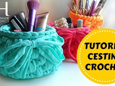 ♡ [Tutorial Uncinetto #13] Cestino in fettuccia | Crochet basket | Fondo tondo | Crochet ♡