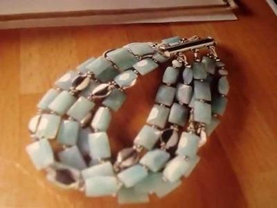 Bracciale azzurrire e cuore swarovski bermuda blue incastonato a peyotei
