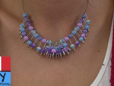 Collana fissa fai da te | Fantastica collana con perline colorate e spille da balia | DIY Gioielli