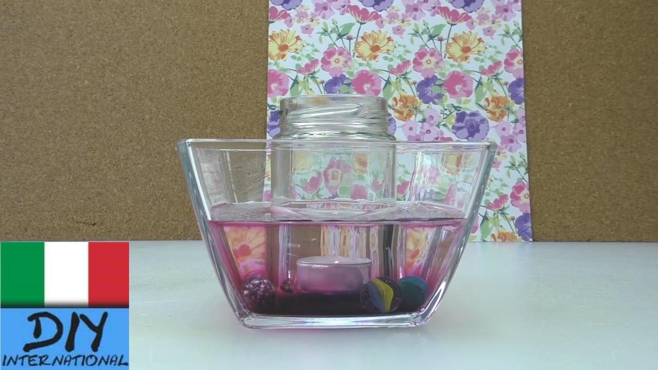 Decorazione di vetro per la camera | Decorazione da tavolo con candela e acqua |