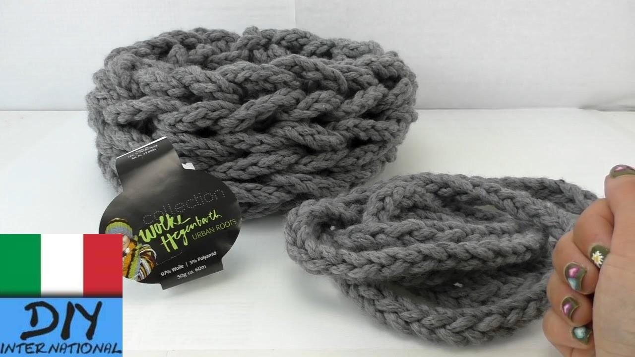 Sciarpa a tubo fatta con le mani â grossissima sciarpa reticolata   semplicissima e veloce