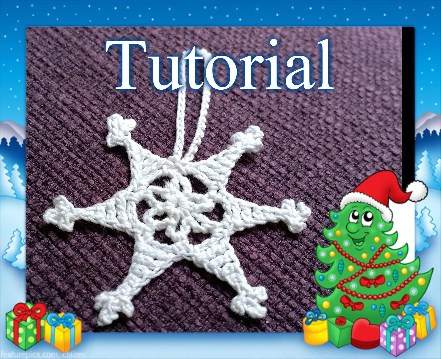 Tutorial 21. * STELLA FIOCCO DI NEVE DI NATALE  * all' Uncinetto. How to Crochet Christmas star