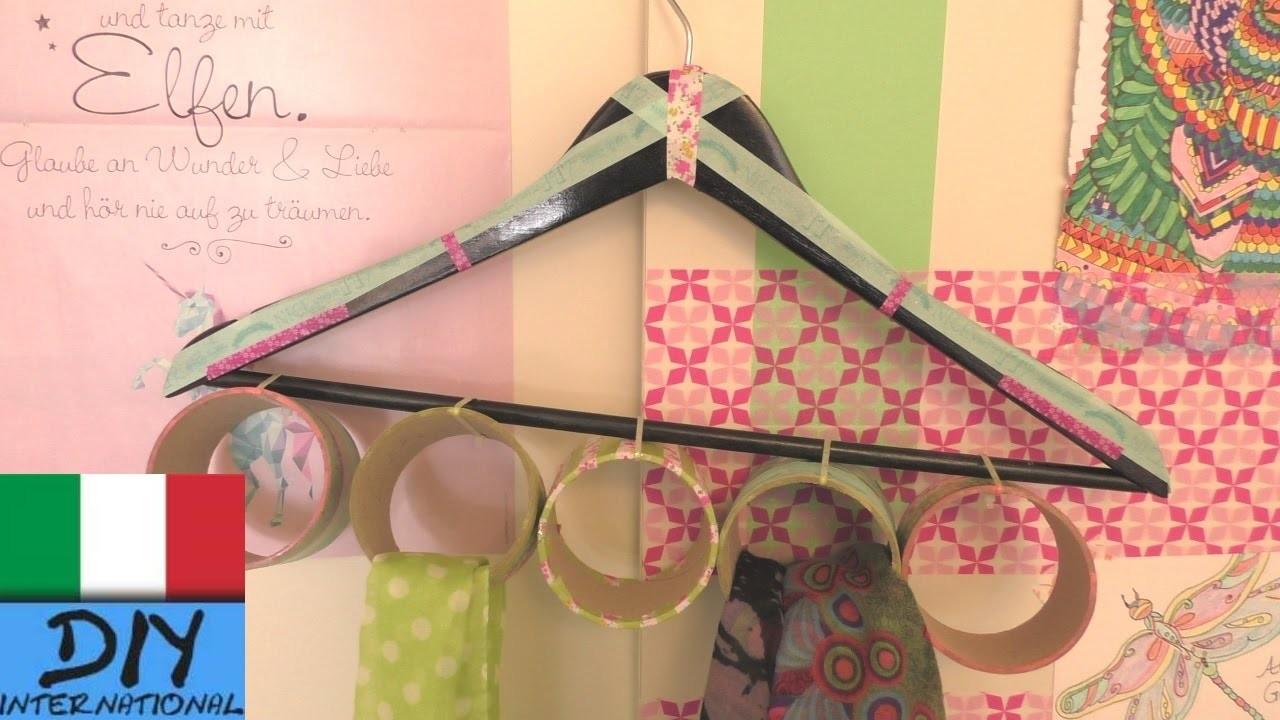 DIY stoccaggio per sciarpe e scialli | armadio per appendere sciarpe | Appendini fai da te