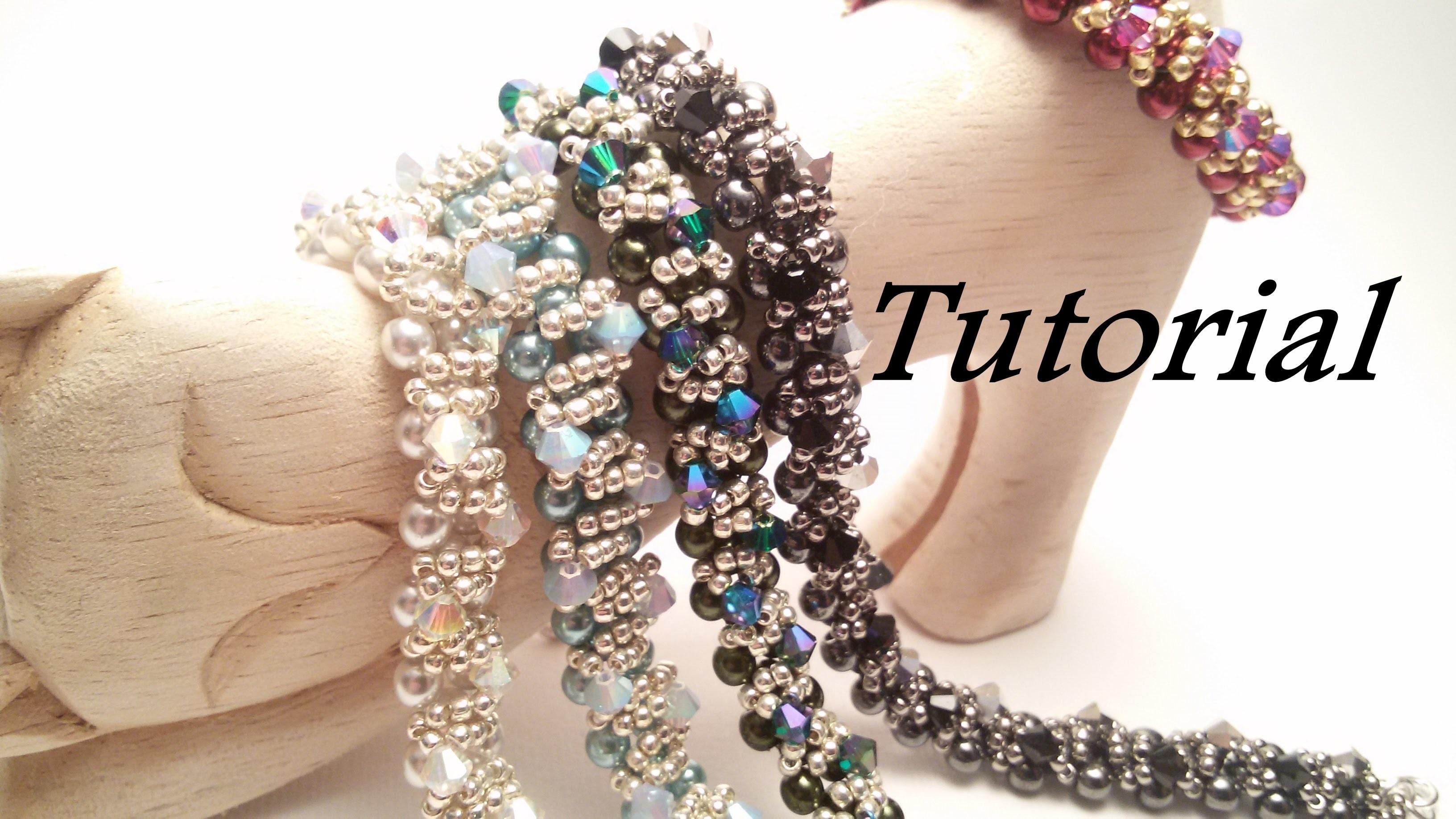 TUTORIAL Bracciale Ghirlanda con Perle Preciosa e Bicono   Christmas bracelet TUTORIAL