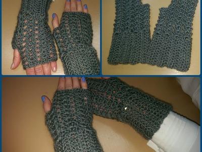 Guanti senza dita all'uncinetto - Tutorial scaldamani - How to crochet fingerless gloves
