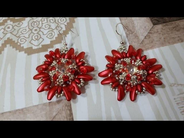 """DIY - Orecchini """"Stella di Natale"""" Chilli beads Preciosa"""