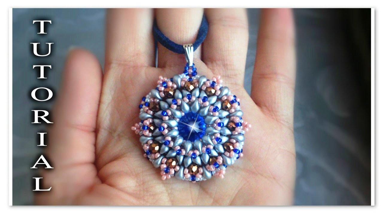 Tutorial Modulo * Corona * ciondolo orecchini  - perline Es O, rivoli, rocailles DIY superduo
