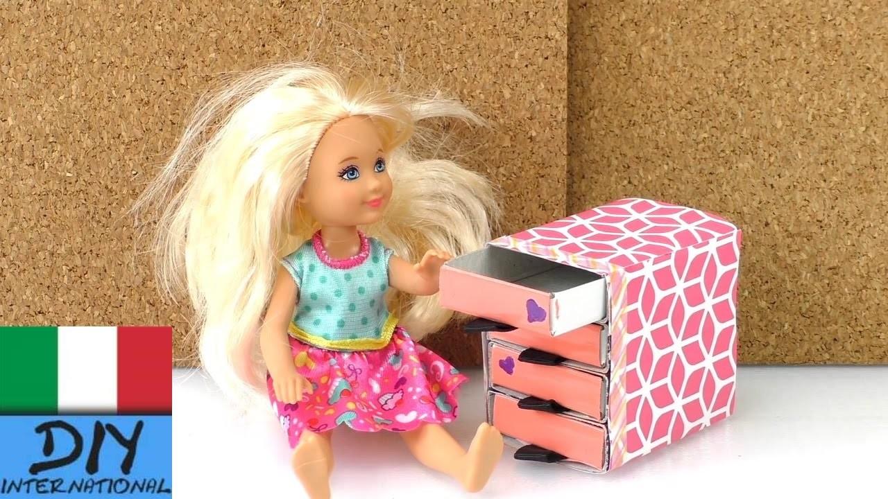 Decorazioni fai da te. cassettiera per la casa delle bambole di Barbie Sylvania