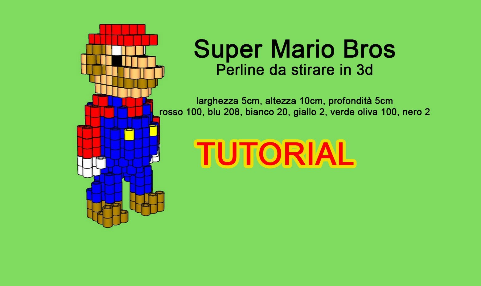 Tutorial schema Super Mario Bros perline da stirare in 3D Hama Beads Pyssla