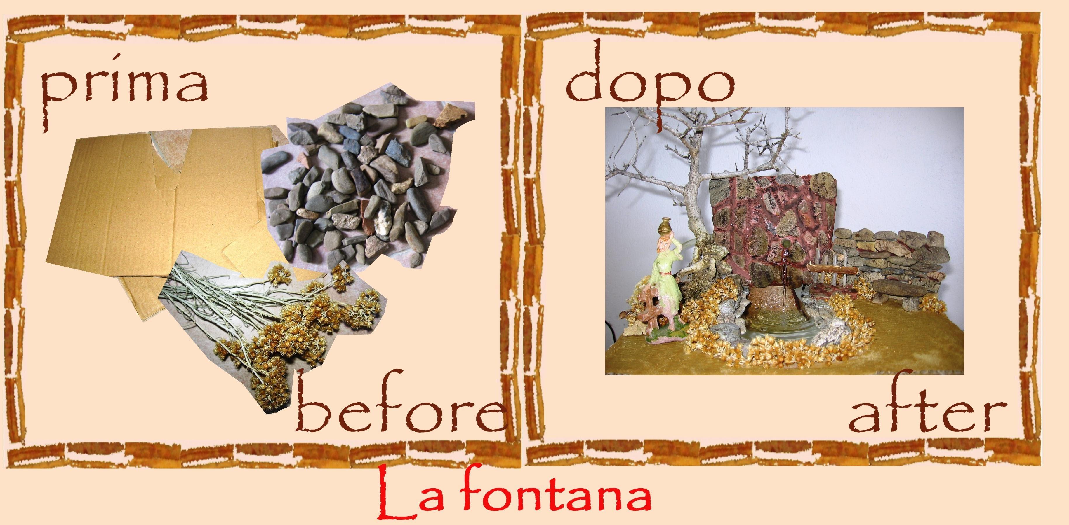 Riciclo creativo cartone sassi la fontana per il presepe for Fontana presepe fai da te
