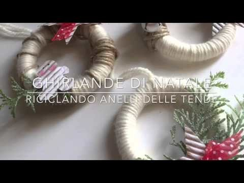 Ghirlande di Natale fai da te riciclando anelli delle tende. Tutorial idee creative per Natale
