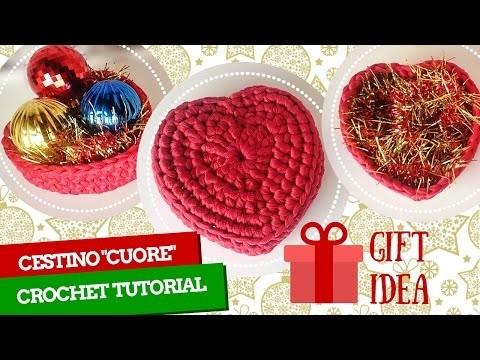 "TutorialXmas #2 | Cestino ""Cuore"" uncinetto | Basket crochet ""Heart"" | Katy Handmade"