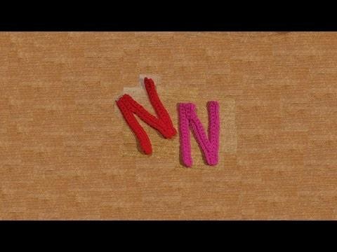 Lettera N all'uncinetto - Alfabeto all'uncinetto - tutorial crochet letter N