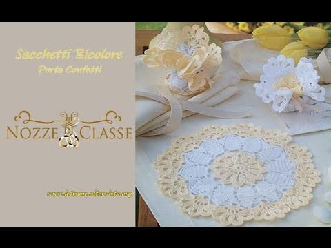 Tutorial Bomboniere all' uncinetto - Sacchetti bicolore-bags bicolor crochet 1.2