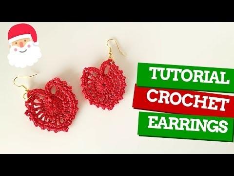 TutorialXMAS #6   Orecchini uncinetto   How to crochet earrings   Katy Handmade