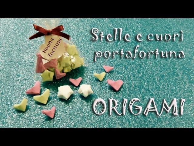 Origami 3d cuore e stella di carta portafortuna - lucky star heart