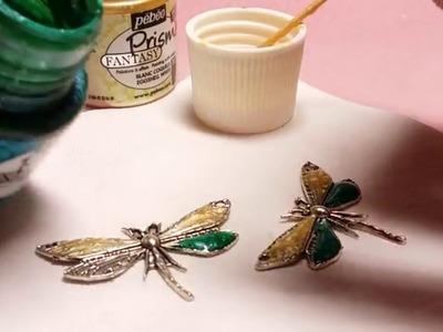DIY - Colorare i ciondoli in metallo con colori Pebeo Prisme