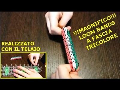 Tutorial Loom Bands Tricolore fatto con Telaio - Italiano - www.mentepratika.it