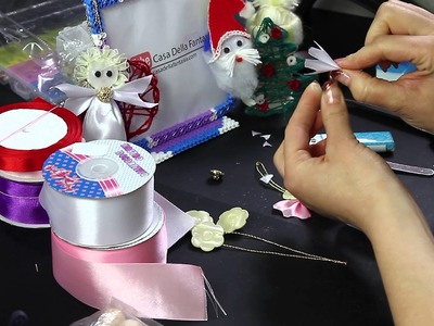 Tutorial ribbon Angel Christmas day decorazioni natalizie angioletto raso snow presents Full HD DIY