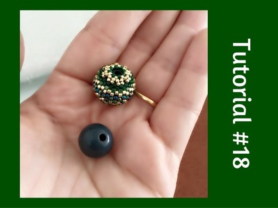 TUTORIAL PERLINE [18] - Chicca Bead, sfera rivestita con perline. (Beaded Bead tutorial)