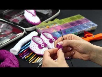 Video Tutorial - Scarpette estive in cotone lilla ad uncinetto (Quinta Parte) - Fiocchetto