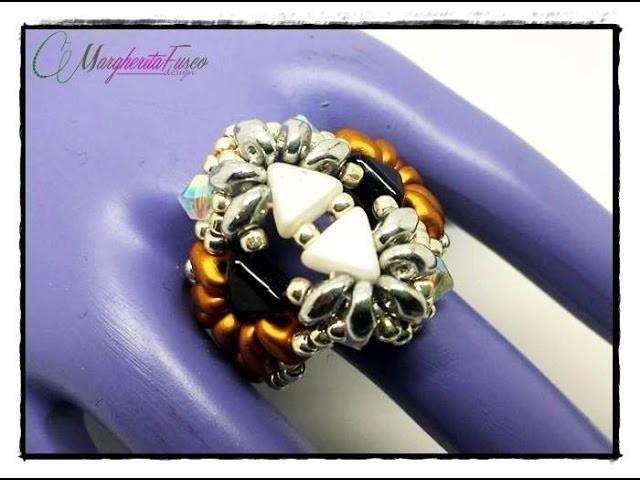 Anello Shabaka | tutorial perline, come fare un anello con Kheops, superduo e rocailles