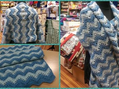 Sciarpa.stola all'uncinetto (Parte2) punto chevron - Zig-Zag - How to crochet