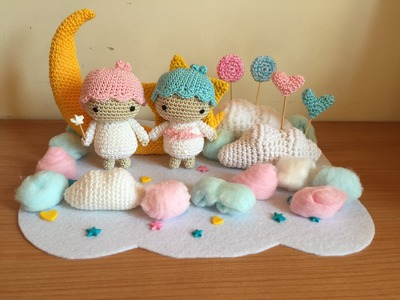 Little twin stars Amigurumi tutorial-schema.How to crochet Little twin stars amigurumi