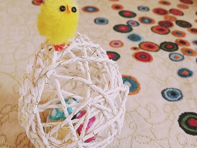 DIY TUTORIAL HOW TO MAKE STRING YARN TREAD EASTER EGG .UOVO DI PASQUA  TUTORIAL