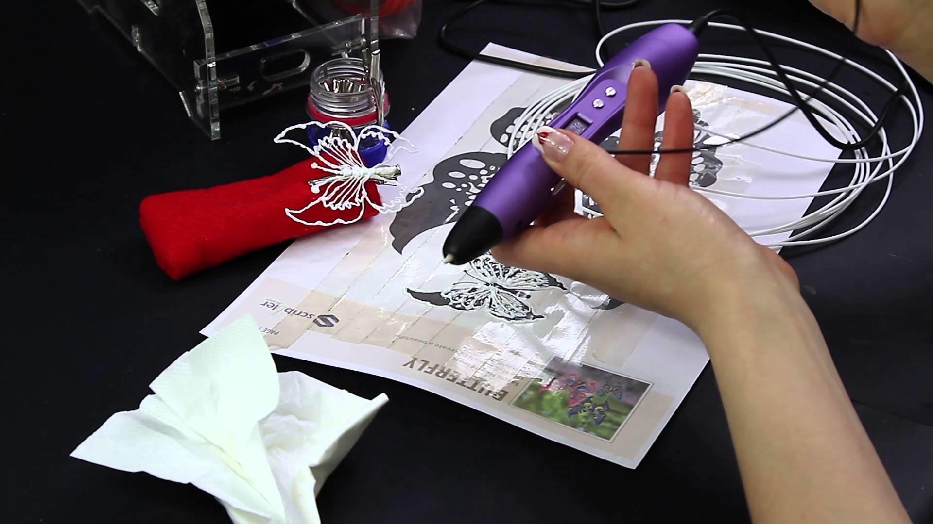 Farfalla 3D Pen Scribbler V3 butterfly clip hair hairdresser DIY Molletta per capelli