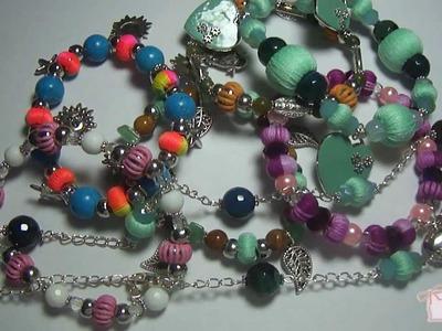 Creazioni - Bijoux con cotone, lana - Bracciali, collane - beadwork