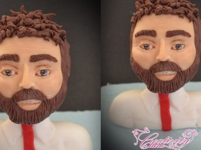 How to sculpting a man face - tutorial viso uomo in pasta di zucchero cake topper fondant torta