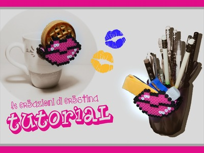 Contenitore LABBRA per Biscotti con HAMA BEADS.PYSSLA - San Valentino Lips Biscuits Pocket Tutorial