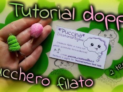 DIY Tutorial Cotton Candy - zucchero filato (Fimo.Polymer Clay)   PuccinaCreations
