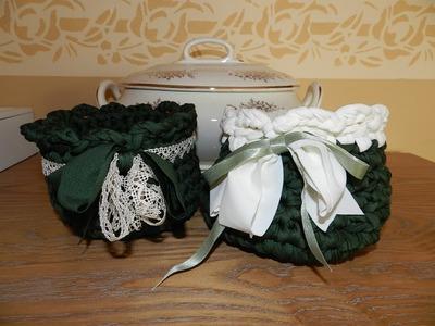 Cestino in fettuccia all'uncinetto   tutorial fondo tondo cesta crochet trapillo
