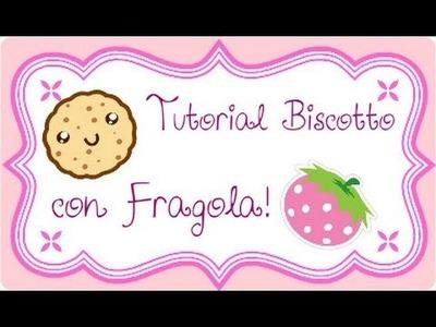 DIY Polymer clay: strawberry biscuit charm. ciondolo biscotto con fragolina!