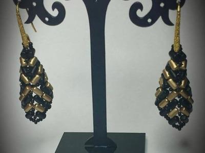 Tutorial orecchini con perline rulla, orecchini Stiletto, Bead tutorial, czech rulla beads pattern