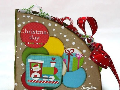 Circle book Tutorial-Mini Album Scrapbooking Tutorial-Natale Fai da te-Christmas Day