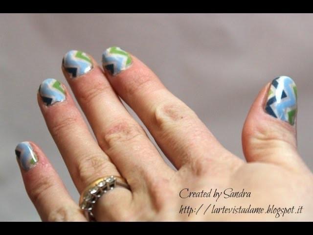 Nail art with washi tape. Washi tape mania - Smalto semipermanente tutorial